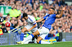 Everton's Brendan Galloway tackles Pedro Rodriguez of Chelsea  - Mandatory byline: Matt McNulty/JMP - 07966386802 - 12/09/2015 - FOOTBALL - Goodison Park -Everton,England - Everton v Chelsea - Barclays Premier League