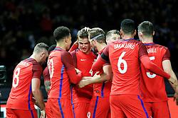 England's Eric Dier celebrates with his team mates after the third goalEngland's Jamie Vardy  celebrates after scoring his sides second goal  - Mandatory by-line: Matt McNulty/JMP - 26/03/2016 - FOOTBALL - Olympiastadion - Berlin, Germany - Germany v England - International Friendly