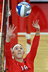 28 September 2014:  Kaitlyn Early during an NCAA womens volleyball match between the Evansville Purple Aces and the Illinois State Redbirds at Redbird Arena in Normal IL