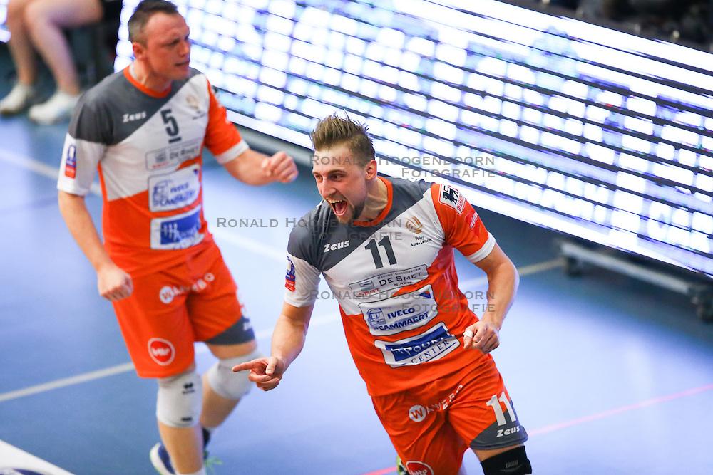 20160402 BEL: Volleybal: Volley Lindemans Asse Lennik - Noliko Maaseik, Zellik  <br />Frank Depestele, Robin Overbeeke