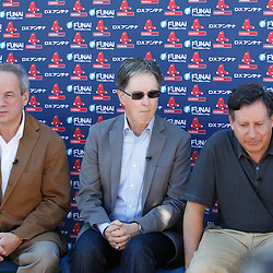 February 19, 2011; Fort Myers, FL, USA; Boston Red Sox owners Larry Lucchino (left), John Henry (center), and Tom Werner hold a press conference prior to a  spring training practice at the Player Development Complex.  Mandatory Credit: Derick E. Hingle
