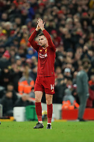 Football - 2019 / 2020 Premier League - Liverpool vs. Southampton<br /> <br /> Liverpool's Jordan Henderson applauds the fans<br /> <br /> Colorsport / Terry Donnelly