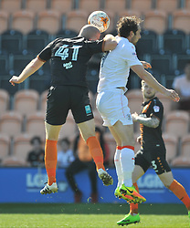 BARNETS CHARLIE CLOUGH HOLDS OF LUTONS DANNY HYLTON, Barnet v Luton Town EFL Sky Bet League 2 The Hive, Saturday 8th April 2017, Score 0-1<br /> Photo:Mike Capps