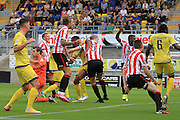 Aaron Downes scores his goal during the Vanarama National League match between Torquay United and Cheltenham Town at Plainmoor, Torquay, England on 29 August 2015. Photo by Antony Thompson.