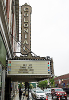 Marque on the Colonial Theater announcing the news Monday morning.  (Karen Bobotas/for the Laconia Daily Sun)