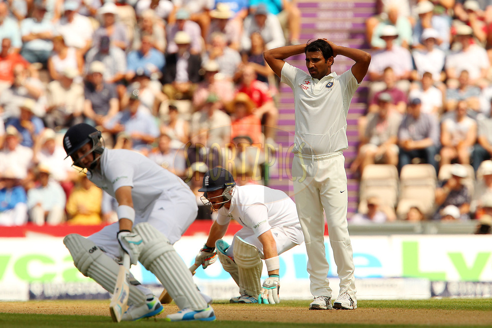Mohammed Shami of India reacts after a delivery during day two of the third Investec Test Match between England and India held at The Ageas Bowl cricket ground in Southampton, England on the 28th July 2014<br /> <br /> Photo by Ron Gaunt / SPORTZPICS/ BCCI