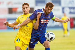 Adam Gnezda Cerin of NK Domzale and Josip Barisic (K) of NK Siroki Brijeg during 1st leg football match between NK Siroki Brijeg and NK Domzale in 1st Qualifying round of UEFA Europa League , on July 12, 2018 in Stadium Pecara, Siroki Brijeg, Bosnia and Herzegovina. Photo by Ziga Zupan / Sportida