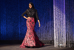 Halima Aden wears a hijab and gown while competing in the preliminary round of the Miss Minnesota USA pageant on Nov. 26, 2016 in Burnsville, MN, USA. Photo by Leila Navidi/Minneapolis Star Tribune/TNS/ABACAPRESS.COM