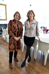 Left to right, VISCOUNTESS GORMANSTON and VIRGINIE TAITTINGER at a lunch to promote the jewellery created by Luis Miguel Howard held at Morton's, Berkeley Square, London on 20th October 2016.