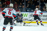 KELOWNA, BC - JANUARY 4:  David Tendeck #30 of the Vancouver Giants makes a second period save on a shot by Trevor Wong #8 of the Kelowna Rockets at Prospera Place on January 4, 2020 in Kelowna, Canada. (Photo by Marissa Baecker/Shoot the Breeze)