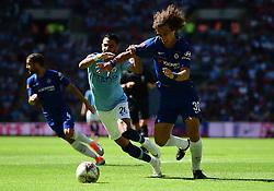 Caption correction * Riyad Mahrez of Manchester City battles for the ball with David Luiz of Chelsea - Mandatory by-line: Alex James/JMP - 05/08/2018 - FOOTBALL - Wembley Stadium - London, England - Manchester City v Chelsea - FA Community Shield