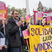 Kevin Courtney is a general secretaries of National Education Union addresses supporter Justice For Windrush - Scrap May's Racist Act Hosted by Stand Up To Racism during the debate in the Parliament on 30 April 2018 at Parliament Square, London, UK.