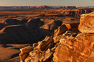 The Goosenecks of the San Juan River and distant Monument Valley from Muley Point, overlook, Utah<br /> Cedar Mesa