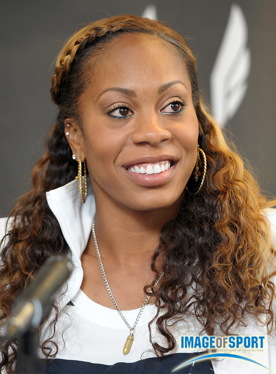 Apr 27, 2012; Philadelphia, PA, USA; Sanya Richards-Ross at the USA vs The World press conference at the 118th Penn Relays at George A. Weiss Atrium at Franklin Field.