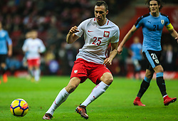 November 10, 2017 - Warsaw, Poland - Jaroslaw Jach (POL) in action during the international friendly match between Poland and Uruguay at National Stadium on November 10, 2017 in Warsaw, Poland. (Credit Image: © Foto Olimpik/NurPhoto via ZUMA Press)