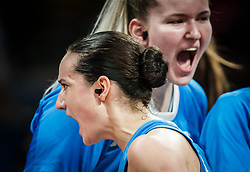 Nika Baric of Slovenia and Teja Gorsic of Slovenia during basketball match between Women National teams of Belgium and Slovenia in the Qualification for the Quarter-Finals of Women's Eurobasket 2019, on July 2, 2019 in Belgrade Arena, Belgrade, Serbia. Photo by Vid Ponikvar / Sportida
