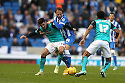 Ben Marshall holds off Inigo Calderon during the Sky Bet Championship match between Brighton and Hove Albion and Blackburn Rovers at the American Express Community Stadium, Brighton and Hove, England on 8 November 2014.