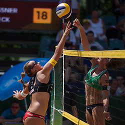 04.07.2013, Lake Szelag, Stare Jablonki, POL, FIVB Beach Volleyball Weltmeisterschaft, im Bild Angriff Victoria Bieneck (#2 GER) - Block Greta Cicolari (ITA), // during the FIVB Beach Volleyball World Championships at the Lake Szelag, Stare Jablonki, Poland on 2013/07/04. EXPA Pictures © 2013, PhotoCredit: EXPA/ Eibner/ Kurth ***** ATTENTION - OUT OF GER *****