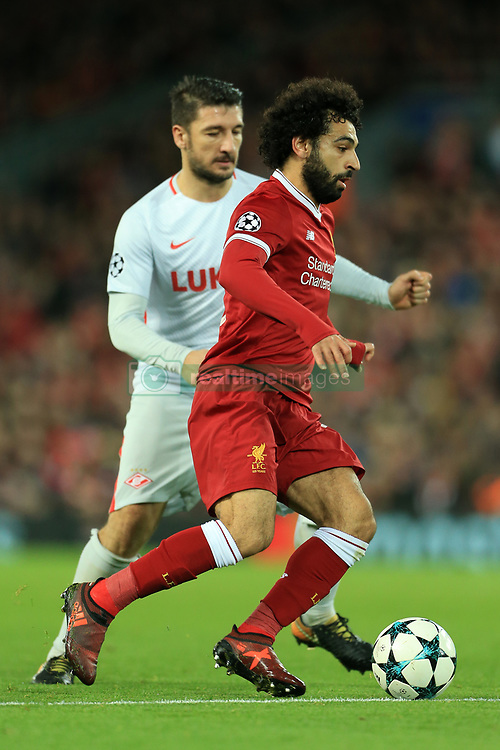 6th December 2017 - UEFA Champions League - Group E - Liverpool v Spartak Moscow - Mohamed Salah of Liverpool battles with Salvatore Bocchetti of Spartak - Photo: Simon Stacpoole / Offside.