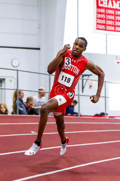 mens 200 meters, BU, Robie Webster<br /> Boston University Scarlet and White<br /> Indoor Track & Field, Bruce LeHane