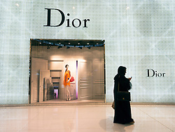 Dior boutique window display at The Dubai Mall in Dubai United Arab Emirates