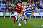 Race for the ball between Charlton Athletic midfielder Jordan Cousins and Reading's Lucas Piazon during the Sky Bet Championship match between Reading and Charlton Athletic at the Madejski Stadium, Reading, England on 17 October 2015. Photo by Mark Davies.