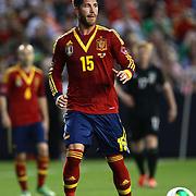Sergio Ramos, Spain, in action during the Spain V Ireland International Friendly football match at Yankee Stadium, The Bronx, New York. USA. 11th June 2013. Photo Tim Clayton