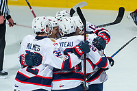 REGINA, SK - MAY 20: The Regina Pats celebrate a goal against the Acadie-Bathurst Titan at the Brandt Centre on May 20, 2018 in Regina, Canada. (Photo by Marissa Baecker/CHL Images)