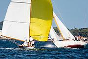 Ruweida and Sonny sailing in the Newport Classic Yacht Regatta.