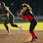 02 March 2018: San Diego State softball hosts Minnesota on day two of the San Diego Classic I at Aztec Softball Stadium. San Diego State shortstop Shelby Thompson (20) fields a ground ball and throws to first base in the top of the third inning against Minnesota. The Aztecs beat the #21/20 Gophers 6-2.<br /> More game action at sdsuaztecphotos.com