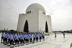 KARACHI, Sept. 6, 2016 (Xinhua) -- Pakistan Air Force cadets march at the mausoleum of the country's founder Mohammad Ali Jinnah during a ceremony to mark the country's Defense Day in southern Pakistan's Karachi, Sept. 6, 2016. Pakistan's armed forces observed Defense Day on Tuesday to commemorate the day when the country's army fought and succeeded in war against India in 1965 on Lahore, Sialkot and other borders. (Xinhua/Masroor).****Authorized by ytfs* (Credit Image: © Masroor/Xinhua via ZUMA Wire)