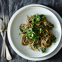Soba with Parsley Pea Pesto and Kale