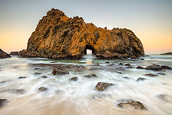 """""""Keyhole Arch, Pfeiffer Beach at Sunrise 1"""" - Sunrise photograph of the ocean and the Keyhole Arch at Pfeiffer Beach in Big Sur, California."""