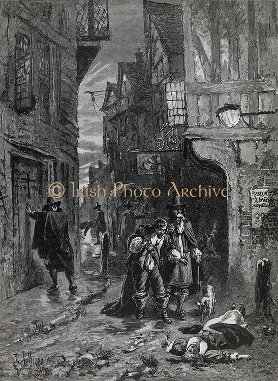 The Great Plague of London, 1665. Distressing views in the streets. Engraving c1880.