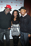 l to r: Danny Simmons, Dawn Richards and Russell Simmons at The Rush Philanthropic Arts Foundation's 9th Annual Youth Holiday Party Sponsored by Target. The annual holiday event brings together over 500 at-risk young people affiliated with the 50 youth arts organizations Rush Philanthropic supports...In celebration of the creative energy of our New York City Youth, this annual holiday event is all about showing love and support for the kids, and letting them know that their hard work and many accomplishments through out the year don't go unnoticed.
