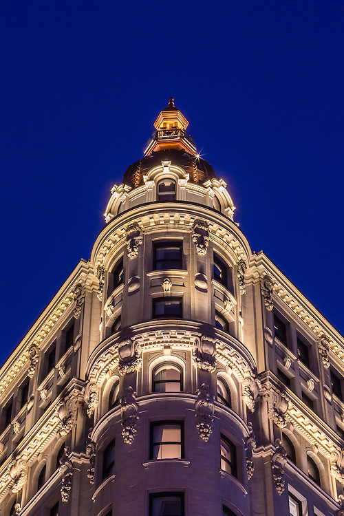 The exterior of the NoMad Hotel at 1170 Broadway in New York City, lit by LED lights made by Lumenpulse.