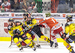 21.03.2017, Eiswelle, Bozen, ITA, EBEL, HCB Suedtirol Alperia vs UPC Vienna Capitals, Playoff, Halbfinale, 4. Spiel, im Bild v.l. Jerry Pollastrone (Vienna Capitals), Riley Holzapfel (Vienna Capitals), Alexander Egger (HCB Suedtirol) // during the Erste Bank Icehockey League, playoff semifinal 4th match between HCB Suedtirol Alperia and UPC Vienna Capitals at the Eiswelle in Bozen, Italy on 2017/03/21. EXPA Pictures © 2017, PhotoCredit: EXPA/ Johann Groder