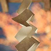 A Shinto paper folding, called a Shide, hanging at the entrance to Kifune Shrine in northern Kyoto. The orange-red background is momiji maple foliage illuminated by the autumn sun.