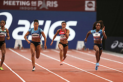February 7, 2018 - Paris, Ile-de-France, France - From left to right : Lorene Bazolo of Portugal, Mujinga Kambudji of Switzerland , Tatjana Pinto of Germany, Carolle Zahi of France compete in 60m during the Athletics Indoor Meeting of Paris 2018, at AccorHotels Arena (Bercy) in Paris, France on February 7, 2018. (Credit Image: © Michel Stoupak/NurPhoto via ZUMA Press)