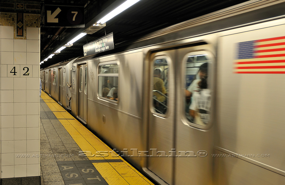 MTA train on 42nd Street Station