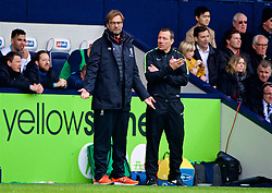 WEST BROMWICH, ENGLAND - Easter Sunday, April 16, 2017, 2016: Liverpool's manager Jürgen Klopp with the fourth official Kevin Friend during the FA Premier League match against West Bromwich Albion at the Hawthorns. (Pic by David Rawcliffe/Propaganda)