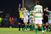 Yeovil Town's Alex Lacey is shown a red card in extra time during the The FA Cup Third Round Replay match between Yeovil Town and Carlisle United at Huish Park, Yeovil, England on 19 January 2016. Photo by Graham Hunt.