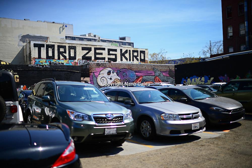 Public parking in Market street area, San Francisco.