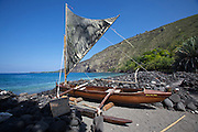 Kealakekua Bay. Outrigger sailing canoe in a Kapu (taboo) area.