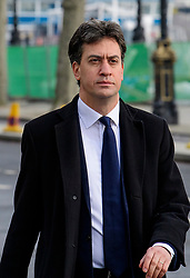 © Licensed to London News Pictures. 23/03/2017. London, UK. Former Labour Party leader ED MILIBAND arrives at the Houses of Parliament, the day after a lone terrorist killed 4 people and injured several more, in an attack using a car and a knife. The attacker managed to gain entry to the grounds of the Houses of Parliament, killing one police officer. Photo credit: Ben Cawthra/LNP