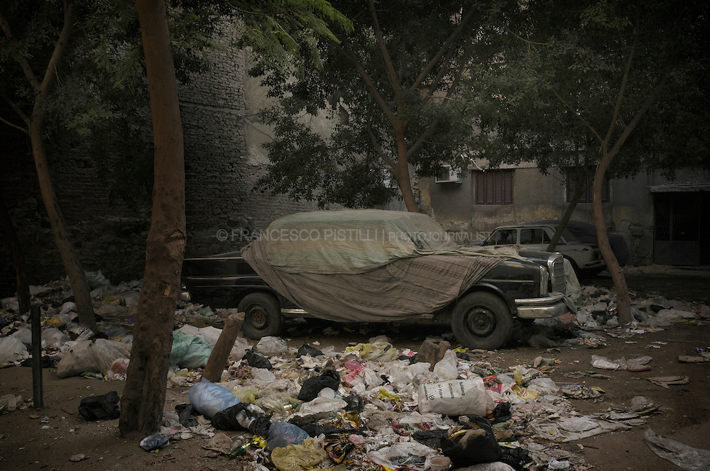Dicember 5, 2011. Egypt. Cairo.  A car in a poor neighborhood in downtown Cario.