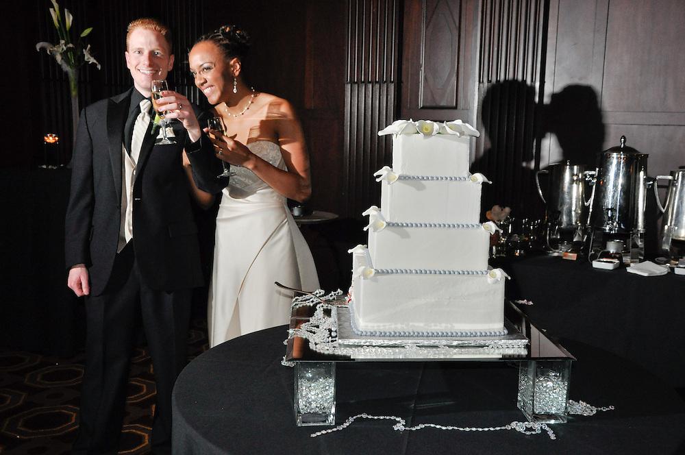 Uzoezi & Noam toast after cutting the cake, Julia Morgan Ballroom, Merchant's Exchange, San Francisco