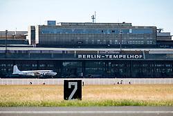 View of historic Tempelhof Airport in Kreuzberg, Berlin, Germany