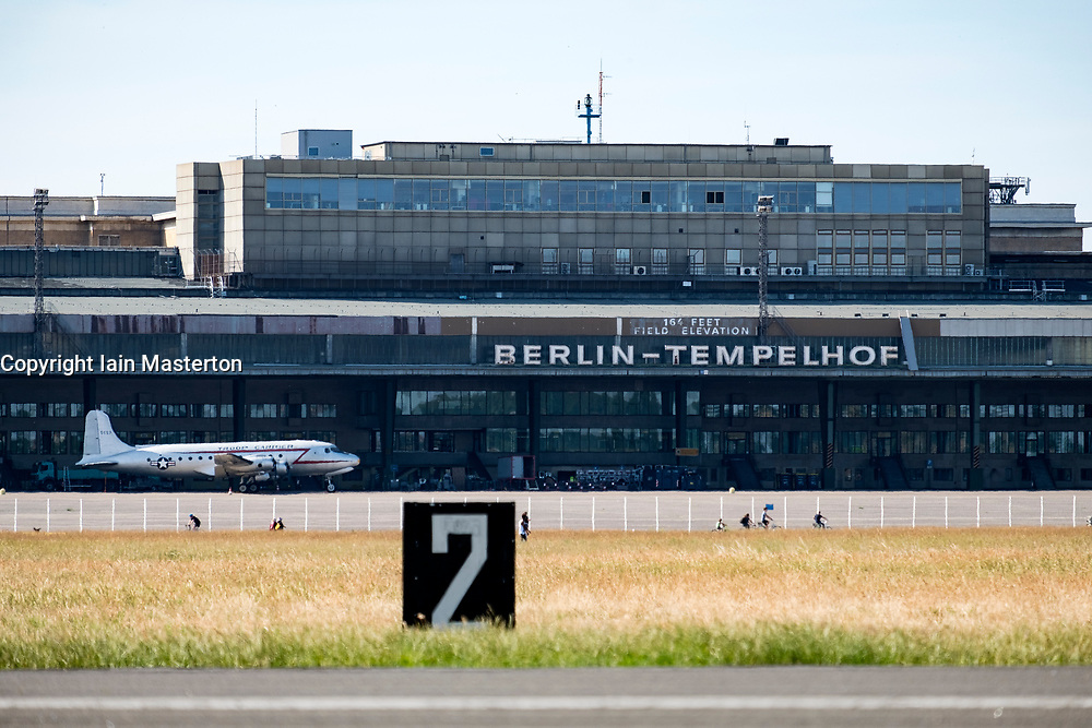 View of historic Tempelhof Airport in Kreuzberg, Berlin, Germany