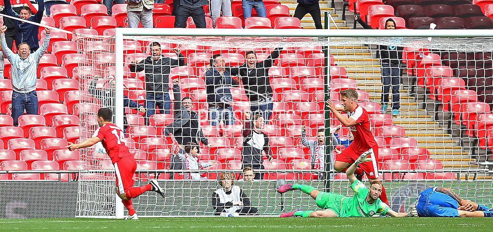 North Shields Adam Forster scores to make it 2-1 during the FA Vase Final between Glossop North End and North Shields at Wembley Stadium, London, England on 9 May 2015. Photo by Phil Duncan.